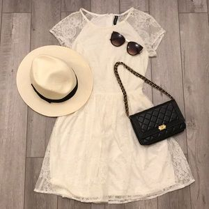 H&M White Lace Fitted Dress